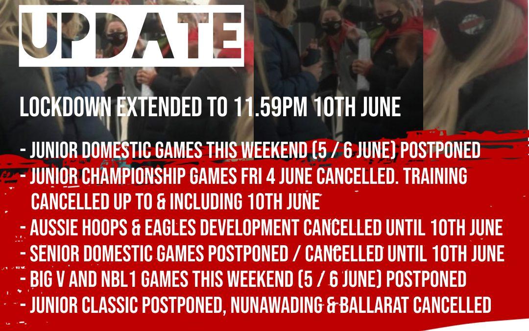 Lockdown extended to 11.59pm Thursday10th June