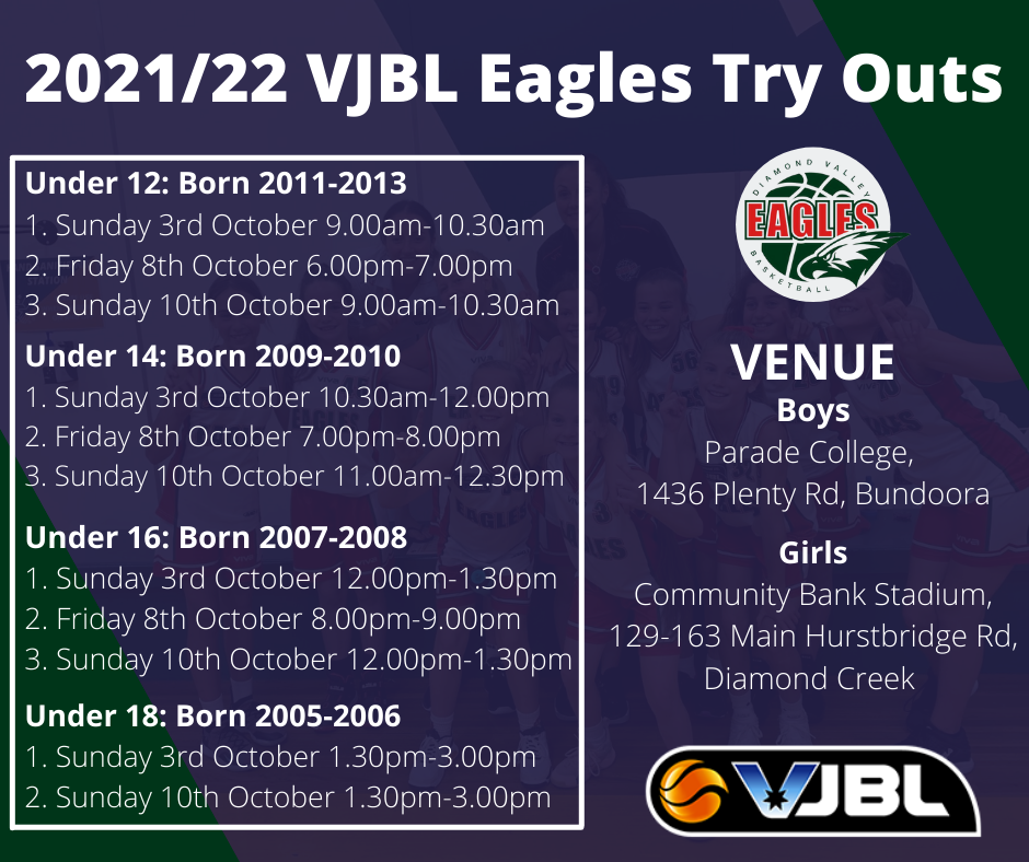 2021/22 VJBL Eagles Try Outs