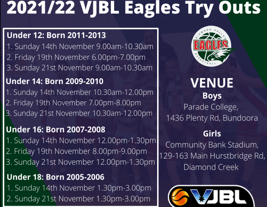 2021/22 VJBL Eagles Try Outs Open!